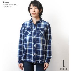 インディゴチェック×デニム ワークシャツ ( ネイビー )-R- 長袖シャツ カジュアルコーデ アメカジ 紺色|bambi