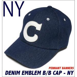 デニム エンブレム ベースボール キャップ ( ネイビー )-G- CAP 帽子 野球帽 アメカジ カジュアル 紺色|bambi