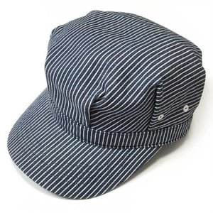 レイルロード キャップ (ネイビーストライプ) PENNANT BANNERS -G-CAP 帽子 ワークキャップ ヒッコリー アメカジ|bambi