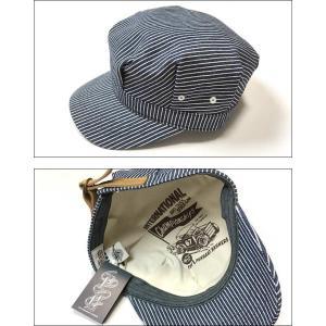 レイルロード キャップ (ネイビーストライプ) PENNANT BANNERS -G-CAP 帽子 ワークキャップ ヒッコリー アメカジ bambi 02