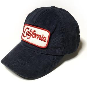 コーデュロイ California ワッペン ベースボールキャップ (ネイビー)  - PENNANT BANNERS -R- カリフォルニア CAP 帽子 紺系 アメリカン アメカジ ストリート bambi