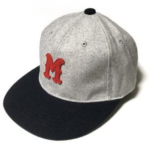 フェルトワッペン フランネル ベースボールキャップ (グレー)  - PENNANT BANNERS -R- CAP BBキャップ ボールキャップ 帽子 アメカジ カジュアル bambi