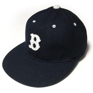 フェルトワッペン フランネル ベースボールキャップ (ネイビー)  - PENNANT BANNERS -R- CAP BBキャップ ボールキャップ ぼうし アメカジ ストリート|bambi