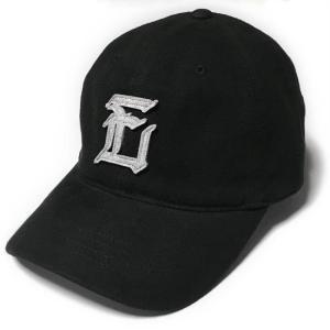 フェルトエンブレム ピーチコットン ベースボールキャップ (ブラック)  - PENNANT BANNERS -F- 黒色 CAP BBキャップ ボールキャップ 帽子 アメカジ bambi