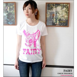 FAIRY (フェアリー) ガールズ UネックTシャツ -G- 半袖 パンクロックTシャツ かわいい おしゃれ ホワイト 白色|bambi