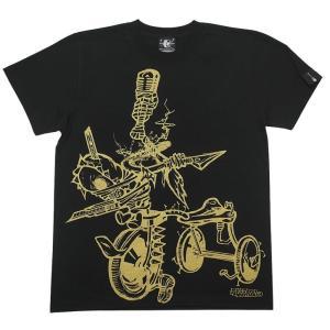 チャイルドウエポン(サンリンシャ)Tシャツ (ブラック)-G- スカル ドクロ パンクロックTシャツ ハードコア イラスト 半袖 黒色|bambi