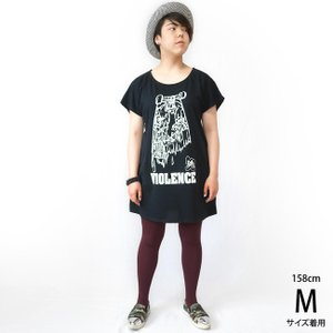VIOLENCE (バイオレンス) Tシャツワンピース -G- ワンピTシャツ 半袖Tee ゾンビ スケボー パンクロックTシャツ|bambi|02