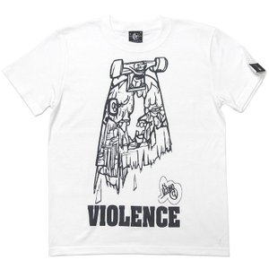 VIOLENCE (バイオレンス) Tシャツ (ホワイト)-G-  半袖 白Tee ゾンビ スケボー パンクロックTシャツ バンドTシャツ|bambi
