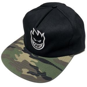 スピットファイア BIGHEAD ANST キャップ (ブラック×迷彩)- SPITFIRE -G- CAP スナップバック 帽子 黒×カモフラージュ 刺繍ロゴマーク|bambi