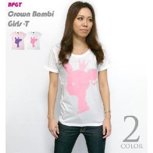 王冠バンビ ガールズUネック Tシャツ -G- 子鹿 ばんび ロゴマーク かわいい レディース 半袖|bambi