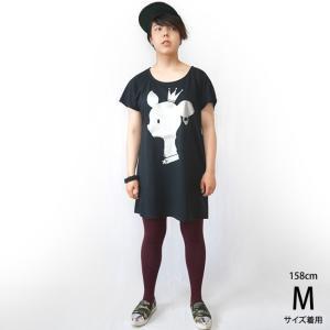 王冠バンビ Tシャツワンピース -G- ワンピTシャツ ばんび 子鹿 bambi キャラ ロゴTee バックプリント 半袖|bambi|02