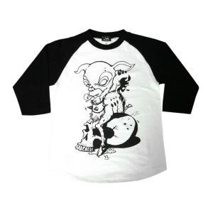 コアバンビ ラグランスリーブ(7分袖) -G- Rock ロックTシャツ スカル Skull 子鹿 ドクロ 七分袖|bambi