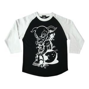 コアバンビ ラグランスリーブ(7分袖) -G- Rock ロックTシャツ スカル Skull 子鹿 ドクロ 七分袖|bambi|03
