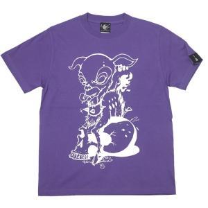 コアバンビ Tシャツ (V.パープル) -G- ロックTシャツ ハードコア スカル モンスター かっこいい オリジナルブランド 紫色 半袖|bambi