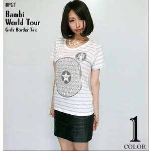 Bambi World Tour ガールズ ボーダーTシャツ -G- ワールドツアー ロックTシャツ バンド ライブ フェス 半袖|bambi