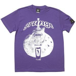 12daysセール! グランジ (grunge) Tシャツ (V.パープル) -G- 半袖 ギター柄 ロックTシャツ バックプリント 紫色 bambi