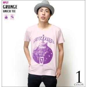 ロックTシャツ / グランジ(grunge)UネックTシャツ -G- 半袖 バンド ギター柄 カジュアル アメカジ|bambi