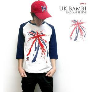 UKバンビ ラグランスリーブ -G- ロック パンク ユニオンジャック 7分袖 メンズ レディース|bambi