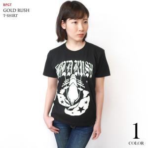 GOLD RUSH(ゴールドラッシュ)Tシャツ (ブラック)-G- ロックTシャツ ROCK アメカジ カジュアル 半袖 黒色|bambi