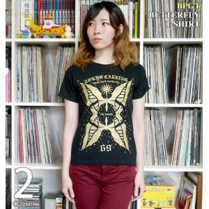 2weekセール!! butterfly Tシャツ (ブラック)-G- 半袖 黒色 バタフライ ちょうちょ アメカジ カジュアル グラフィックデザイン|bambi