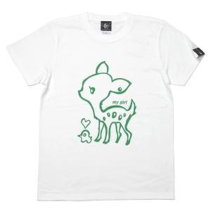 特別プライス☆ my girl Tシャツ (ホワイト)-G- 半袖 バンビ 子鹿 アニマル イラスト かわいい 白色|bambi