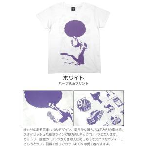 SOUL 80(ビックアフロ)ガールズ UネックTシャツ -G- ソウルミュージック ディスコ ホワイト オリジナル プリント かわいい レディース 半袖|bambi|03
