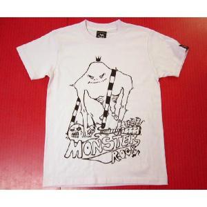 MONSTER ROCK Tシャツ -G- パンクロックTシャツ モンスター ギター イラスト プリントシャツ 半袖 bambi