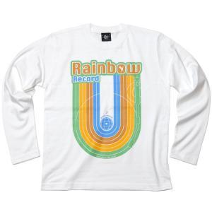 Rainbow Record (レインボーレコード) ロングスリーブTシャツ -G- 虹 ロゴ ロンT 長袖 カットソー カジュアル ホワイト|bambi