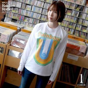 Rainbow Record (レインボーレコード) ロングスリーブTシャツ -G- 虹 ロゴ かわいい ロンT 長袖 カットソー カジュアル|bambi|02