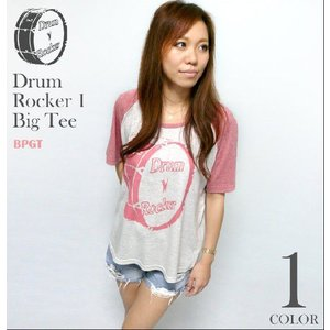 Drum Rocker 1(ドラムロッカー)ラグラン ガールズ ビックTシャツ -G- ロックTシャツ ライブ バンドTシャツ Big Tee 半袖|bambi