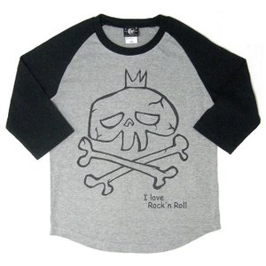 I love Rock'n Roll(スカルLOVE)ラグランスリーブTシャツ -G-( ロックT ドクロ 7分袖 七分袖 カットソー )|bambi
