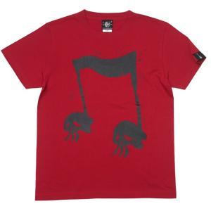 2週間セール!! スカルオンプ2 Tシャツ (レッド) -G- 半袖 赤色 ドクロ ロックTシャツ アメカジ カジュアル かわいい 音符|bambi