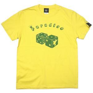 2weekセール!! Paradise (パラダイス) Tシャツ (イエロー) -G- サイコロ ダイス アメカジ 大きいサイズ 半袖 黄色|bambi