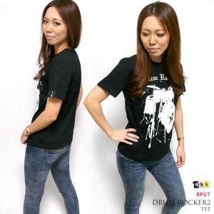 ロックTシャツ / Drum Rocker2 Tシャツ (ブラック) -F- 半袖 楽器 ドラム ドラマー バンドTシャツ ライブ フェス ロックンロール|bambi