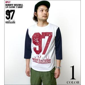 bambi97 3/4スリーブ ベースボールTシャツ -G- ロックTシャツ バンビ ロゴマーク アメカジ カジュアル 7分袖 七分袖|bambi