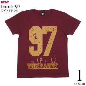 bambi97 ライトTシャツ (バーガンディ) -F- 半袖 小豆色 ワイン ロックTシャツ ナンバー グラフィックプリント bambi