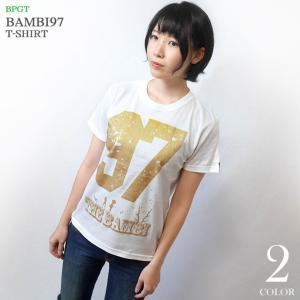 bambi97 Tシャツ (ホワイト) -G- 白色 半袖 ロゴTee ロックTシャツ グラフィック 春夏秋服コーデ 綿100%|bambi