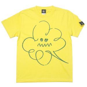 夏セール! 特別プライス☆ モクモク Tシャツ (イエロー) -G- 半袖 黄色 イラスト 落書き 雲 くもり空 かわいい オリジナルブランド|bambi