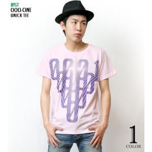 000-one UネックTシャツ -G- ゼロ 半袖 綿 グラフィック カジュアル アメカジ オリジナル プリント ピンク|bambi