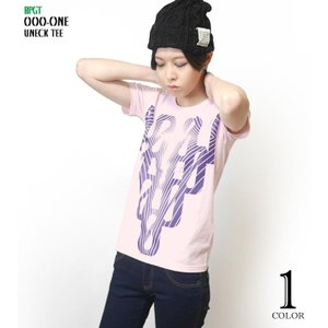 000-one UネックTシャツ -G- ゼロ 半袖 綿 グラフィック カジュアル アメカジ オリジナル プリント ピンク|bambi|02