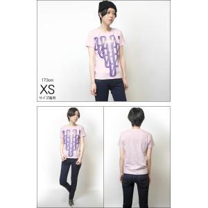 000-one UネックTシャツ -G- ゼロ 半袖 綿 グラフィック カジュアル アメカジ オリジナル プリント ピンク|bambi|04