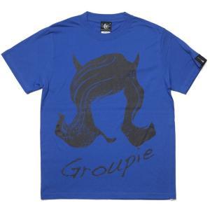 Groupie(グルーピー)Tシャツ (ロイヤルブルー) -G- 半袖 バンド ROCK ロックTシャツ 青色 春夏秋服コーデ bambi