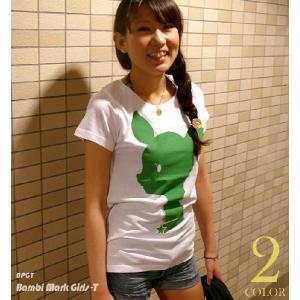 Bambi Mark ガールズ UネックTシャツ -A-( 子鹿 ばんび ロゴ マーク アニマル プリントTシャツ ) bambi