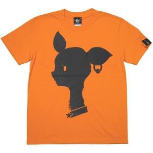 2週間セール!! Bambi Mark Tシャツ (オレンジ) -G- 半袖 橙色 バンビ ばんび 子鹿 かわいいロゴマーク グラフィック オリジナルブランド|bambi