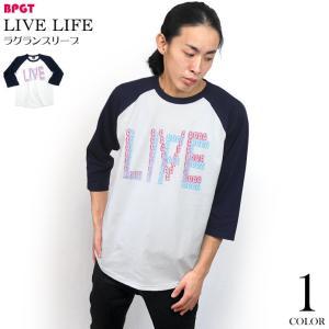 LIVE LIFE ラグランスリーブTシャツ (ホワイト×ネイビー袖) -F- 7分袖 ライブ ライフ カセットテープ 音楽 ロック グラフィックデザイン bambi