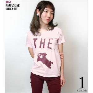 ロックTシャツ  / New Ager UネックTシャツ -G- 半袖 バンド カジュアル アメカジ オリジナル プリント ライトピンク bambi