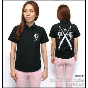 DR-03(ドラムロッカー3)ボタンダウン ポロシャツ -G-( Polo ROCK ロック バンド ワンポイント ブラック 黒 半袖 )|bambi