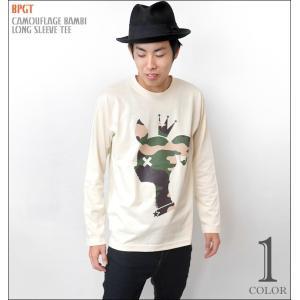 迷彩 バンビ ロングスリーブTシャツ -G- かわいい bambi こじか ロンT 長袖 カットソー 春秋冬服コーデ|bambi