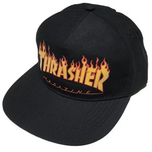THRASHER FLAME スナップバックキャップ  - スラッシャー -G- 帽子 炎ロゴマーク ファイヤースケートブランド スケーター ブラック|bambi