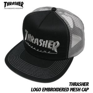 THRASHER エンブロイダード メッシュキャップ -G- スラッシャー 刺繍ロゴ スケーター パンクス 帽子 CAP ブラック×グレー|bambi
